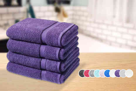Groundlevel - Four super soft Egyptian cotton bath sheets choose from 10 colours - Save 79%