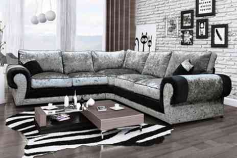 Groupon Goods Global GmbH - Madrid Large Velvet Corner Sofa in Choice of Colour With Free Delivery - Save 54%