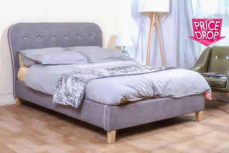 FTA Furnishing - Single, small double or double grey Cairo fabric bed - Save 72%