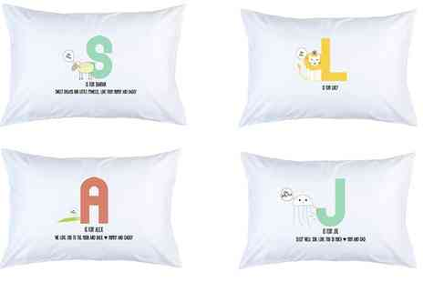 Prints With Feelings - Personalised Kids Animal Letter Pillow Case - Save 0%