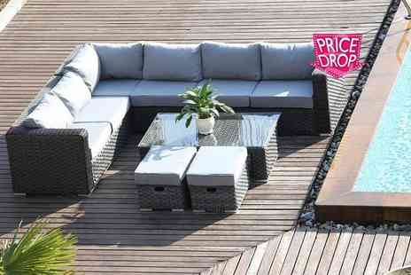 Dreams Living - A black eight seater Yakoe Papaver rattan corner sofa set - Save 51%