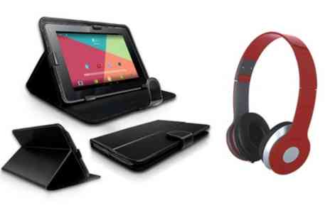 Groupon Goods Global GmbH - 7 Inch Quad Core Android 4.4 Tablet Bundle Including Headphones and Case With Free Delivery - Save 0%