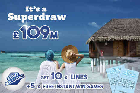 Hatchster - 10 syndicated EuroMillions lines and five instant win games with chances for an up to £7k win - Save 75%