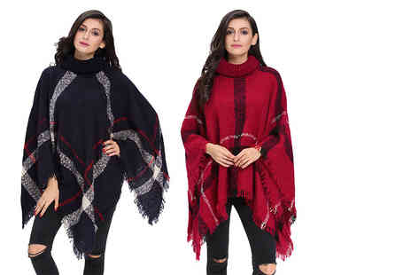 Who Runs the World - Knitted poncho choose from navy or red - Save 68%
