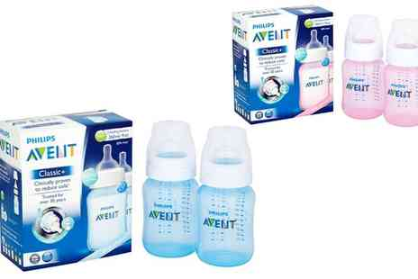 Groupon Goods Global GmbH - Six Philips Avent 260ml Feeding Bottles in Pink or Blue - Save 0%