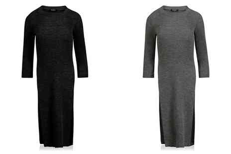 Groupon Goods Global GmbH - Womens Knitted Rib Long Sleeve Tunic Dress - Save 0%