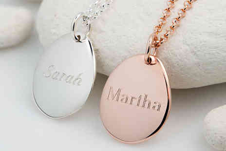 Lily Charmed - Engraved sterling silver plated pebble necklace And Rose gold plated necklace - Save 39%