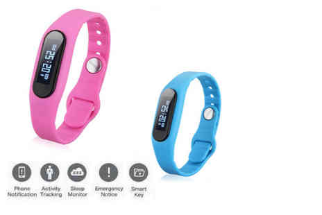 TLD Marketing - Bluetooth smart watch fitness tracker choose from blue or pink - Save 90%