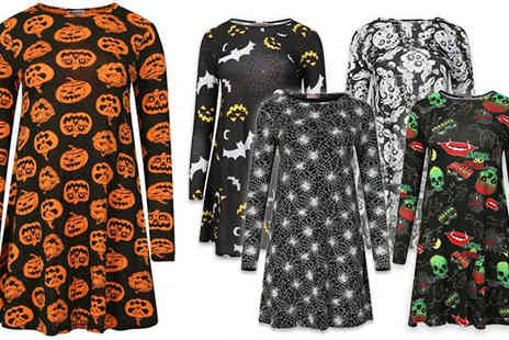 The Fashion City - Halloween Long Sleeve Swing Dress Five Designs - Save 0%