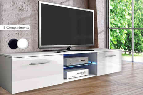 The Import House - Two compartment TV stand or three compartment choose from black or white - Save 65%