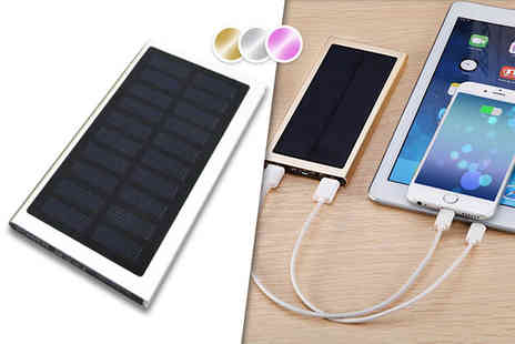 EF Mall - 9000mAh dual port solar power bank choose from gold, silver and pink - Save 75%