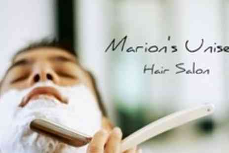 Marions Unisex Hair Salon - Mens Haircut and Hot Towel Shave - Save 64%
