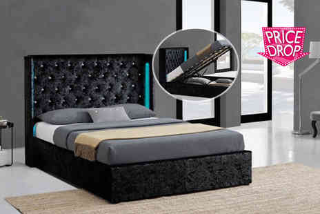 Limitless Base - Crushed velvet LED ottoman double or king size bed frame choose from black or silver - Save 81%