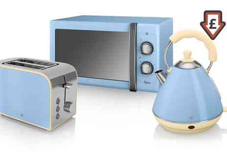 Groupon Goods Global GmbH - Swan Three Piece Kitchen Set Microwave, Kettle and Toaster in Choice of Colour With Free Delivery - Save 0%