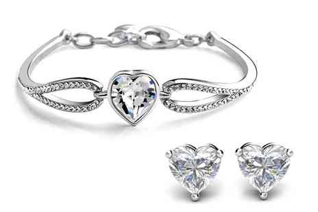 Groupon Goods Global GmbH - Three Carat Heart Duo Bracelet Set Made with Crystals from Swarovski - Save 0%