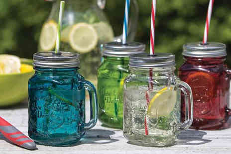 Fastline Importers & Distributors - Set of 4 Glass Drinking Jars with Straws - Save 43%
