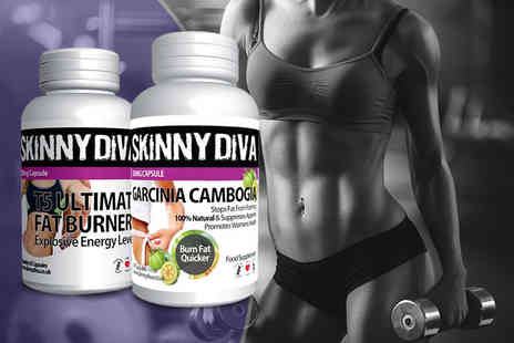 Skinny Diva - One month supply of Garcinia Cambogia & T5 fat burners - Save 87%