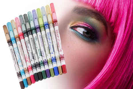 LaRoc - 12 piece waterproof eyeliner pencil set  brighten up your makeup - Save 59%