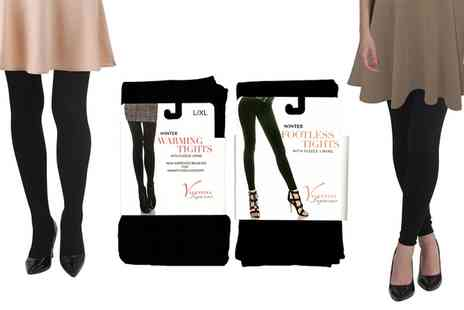 Groupon Goods Global GmbH - Two Pack Womens Footless or Full Length Thermal Tights in Choice of Size - Save 0%