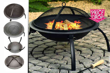 Sashtime - Outdoor garden fire pit with BBQ grill - Save 63%