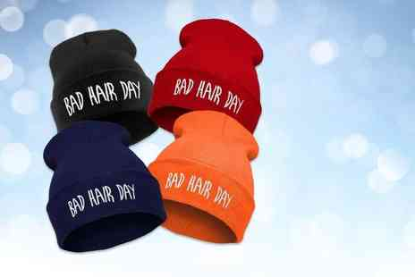 EF Mall - On trend bad hair day beanie hat choose red, black, orange or navy - Save 87%