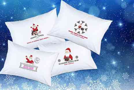 Prints With Feelings - Personalised children's Christmas pillowcase choose from four designs - Save 73%