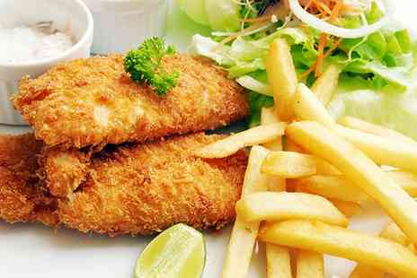 Golden Mile Diner - Fish and Chips with Side Order and Drink for One or Two - Save 41%