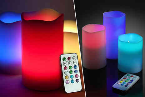 Fusion Homeware - Three LED colour changing candles - Save 60%