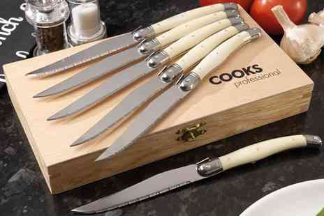 Groupon Goods Global GmbH - Six Piece Cooks Professional Laguiole Style Steak Knife Set in Choice of Design - Save 0%