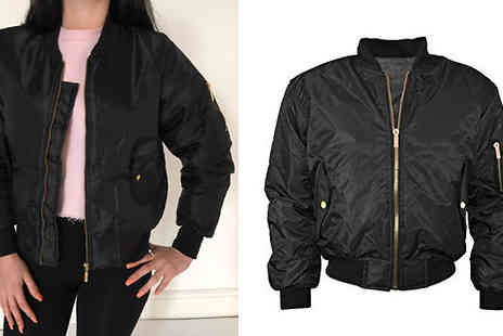 Factors - Black Bomber Jacket Available Four  Sizes - Save 60%