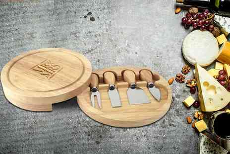 The Gift Mill - Personalised cheese board and knives choose from nine designs - Save 35%