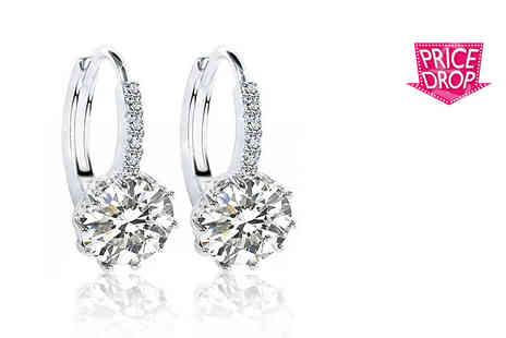 Your Ideal Gift - Set of 2.5 carat clear sapphire earrings - Save 95%