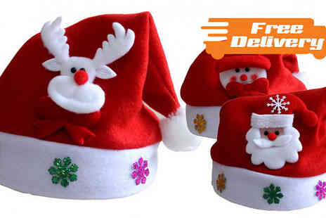 Bazaar me - Pack of Three Christmas Hats With Free Delivery - Save 70%