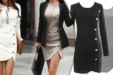 Bazaar me - Long Sleeved Bodycon Dress Four Colours - Save 64%