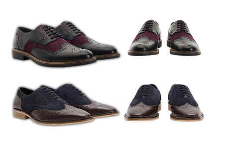 Shoeprimo - Pair of mens genuine leather brogue shoes choose from Derby and Gatsby styles - Save 79%