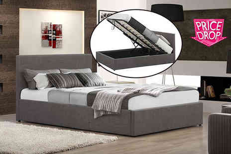 FTA Furnishing - Fabric ottoman storage bed include a memory foam mattress choose from two colours - Save 70%