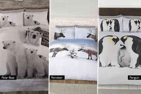 Groundlevel - A single winter animal themed duvet set choose from three designs - Save 78%
