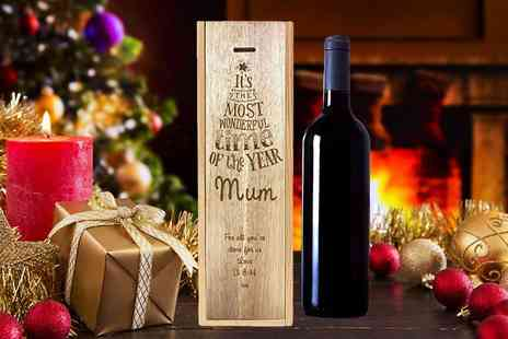 The Gift Mill - Personalised wooden wine box choose from 18 celebratory designs - Save 50%