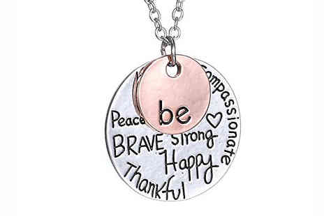 India Rose Designs - Be... Inspirational Rose Gold and Silver Necklace - Save 83%