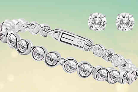 India Rose Designs - 18K White Gold Plated Infinity Crystal Bracelet Set - Save 85%