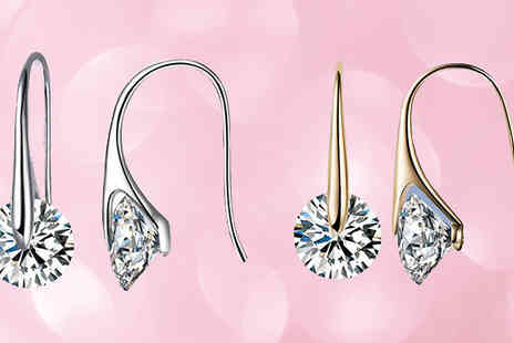 India Rose Designs - Crystal Eclipse Drop Earrings Gold or Silver Plating - Save 76%