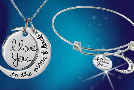 India Rose Designs - Silver Plated Moon and Back Jewellery Set - Save 77%