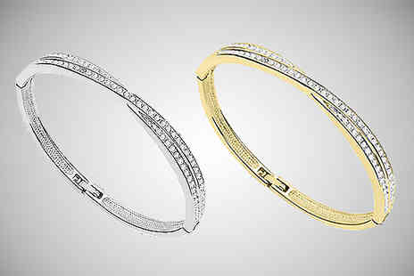 India Rose Designs - Crystal Cross Bangle Silver or Gold Plating - Save 80%