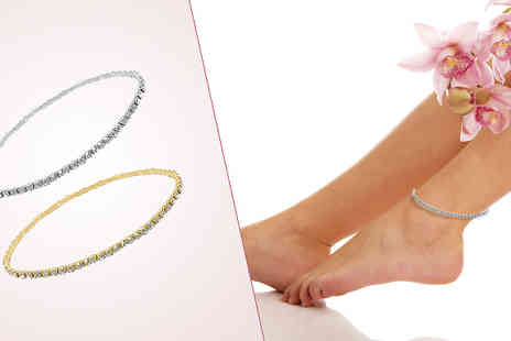 India Rose Designs - Set of Two Crystal Anklets Gold and Silver Plated - Save 68%