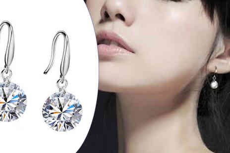 India Rose Designs - One or Two Pairs of 8mm Crystal Drop Earrings - Save 75%