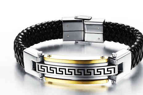 India Rose Designs - Mens Stainless Steel Black Bracelet - Save 80%