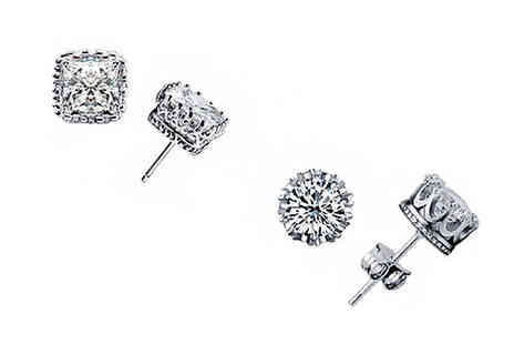 India Rose Designs - Two or Four Pairs of Duo Crystal Crown Earrings - Save 80%