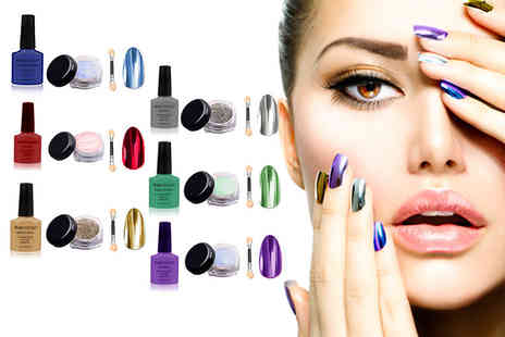 14 Day Manicure - Magic mirror nail glitter and polish set choose from six colours - Save 84%