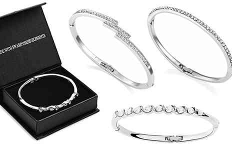 Groupon Goods Global GmbH - 18ct White Gold-Plated Assorted Bangles with Crystals from Swarovski - Save 0%