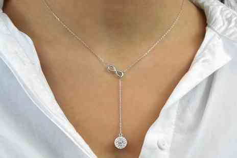 Groupon Goods Global GmbH - One or Two 18ct White Gold-Plated Infinity Necklaces Made with Crystals from Swarovski - Save 0%